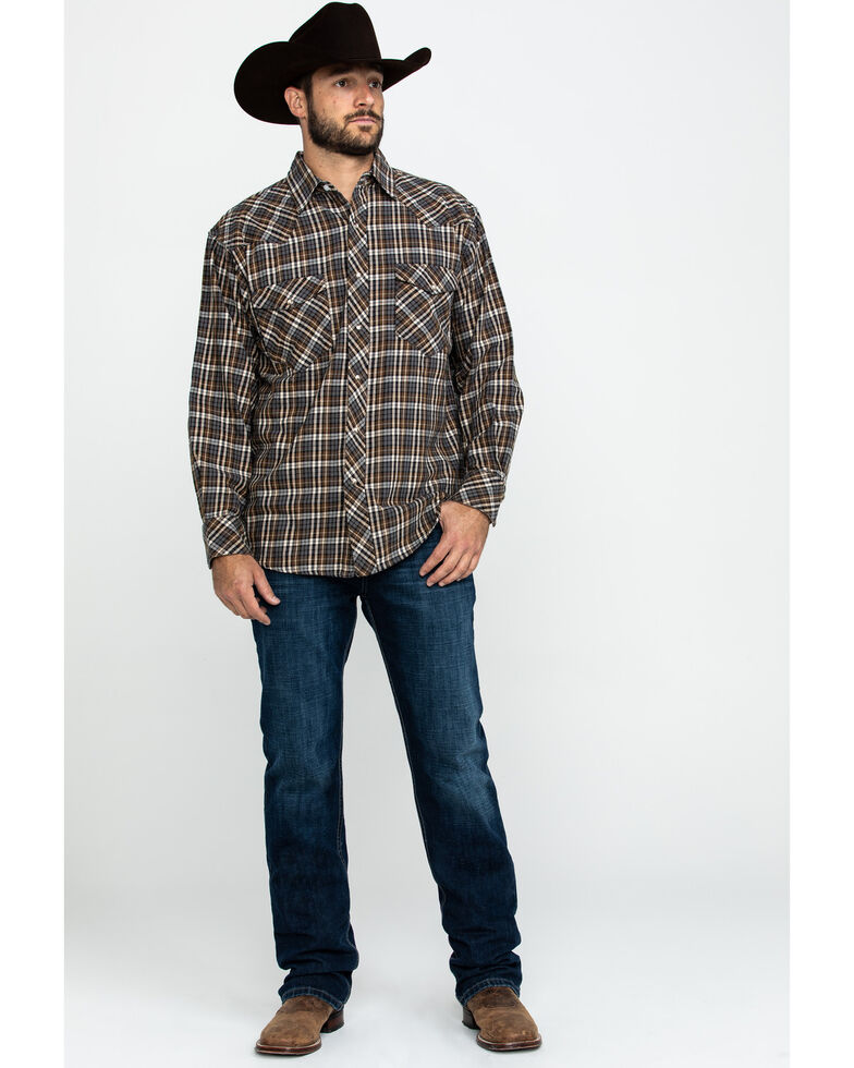 Resistol Men's Bachman Small Plaid Long Sleeve Western Shirt , Brown, hi-res