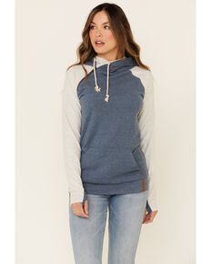 Ampersand Avenue Women's Blue Contrast Sleeve Hoodie , Blue, hi-res