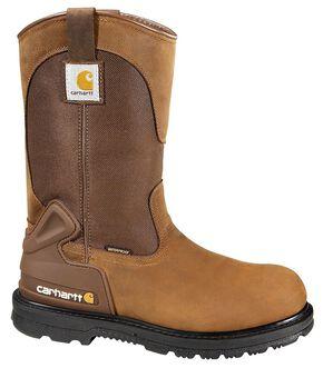 Carhartt Waterproof Wellington Pull-On Work Boots - Round Toe, Bison, hi-res