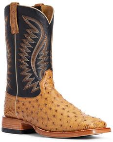 Ariat Men's Gallup Ostrich Western Boots - Wide Square Toe, Cognac, hi-res