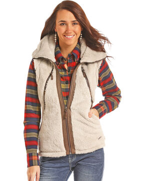 Powder River Outfitters Women's Natural Micro Fur and Faux Leather Vest , Natural, hi-res