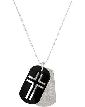 Montana Silversmiths Men's Stainless Steel Cross Token Necklace, Silver, hi-res