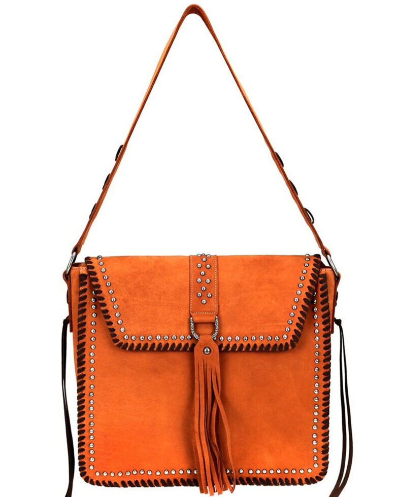 Delila Women's Brown Ring Tassel Leather Hobo, Brown, hi-res