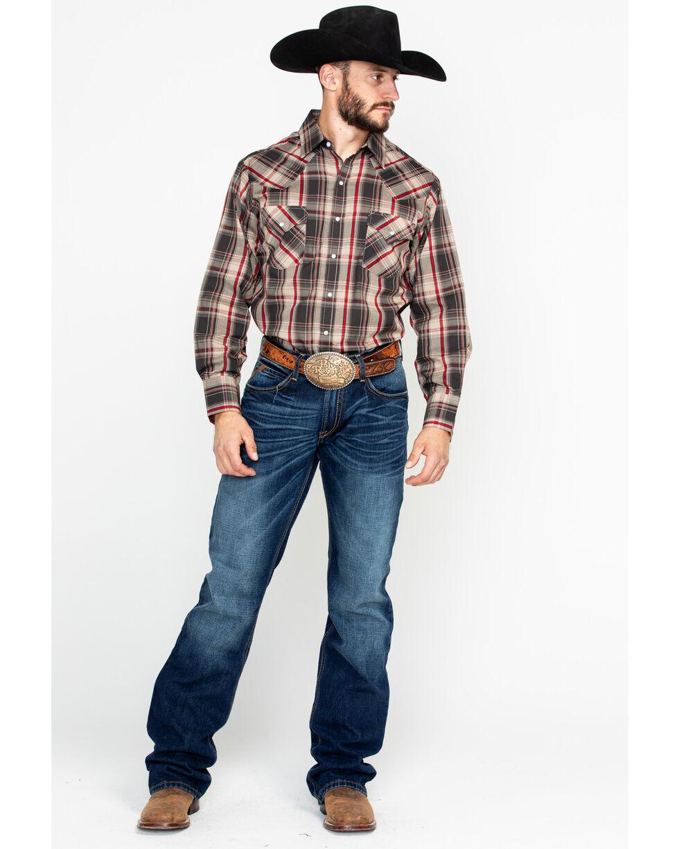 Ely Cattleman Men's Textured Plaid Long Sleeve Western Shirt , Brown, hi-res