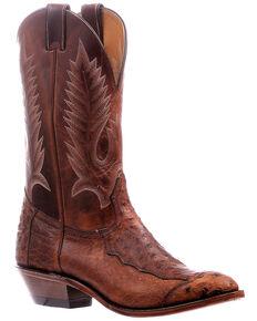 Boulet Men's Ostrich Western Boots - Round Toe, Brown, hi-res