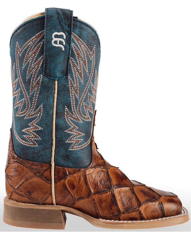 Horse Power Boys' Cognac Seas the Day Fish Print Boots - Square Toe , Cognac, hi-res