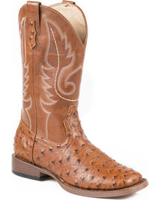 Roper Faux Ostrich Leather Cowgirl Boots - Square Toe, Tan, hi-res