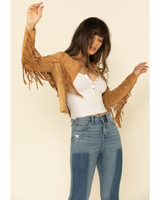 Miss Me Women's Faux Suede Fringe Open Front Jacket , Tan, hi-res