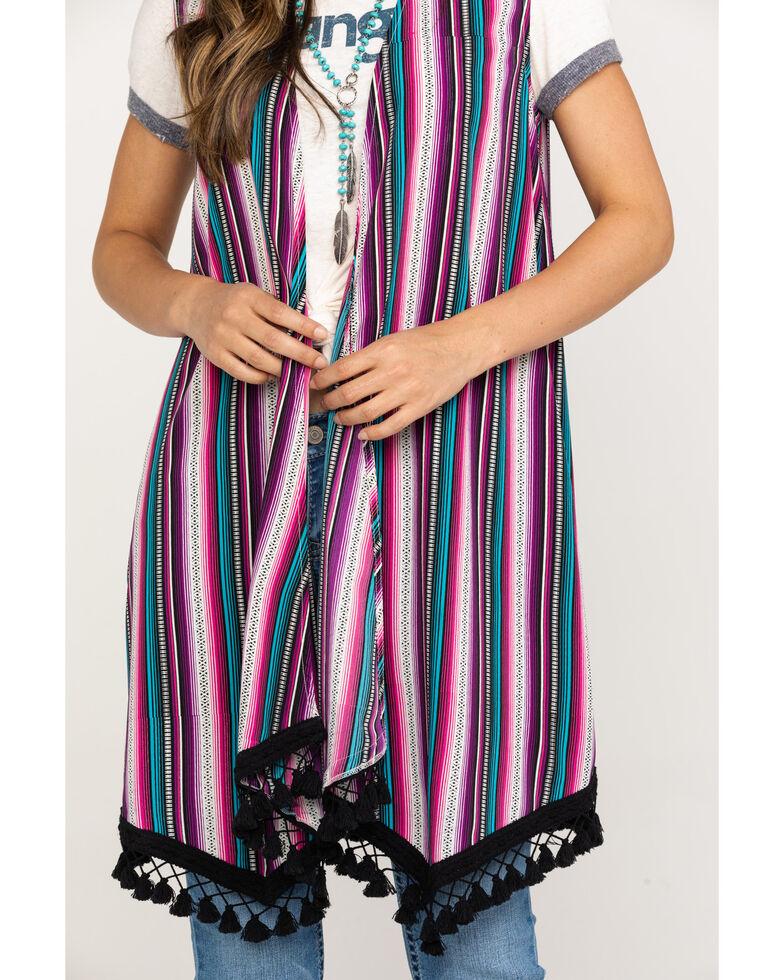 Red Label by Panhandle Women's Stripe Tassel Trim Vest, Black, hi-res