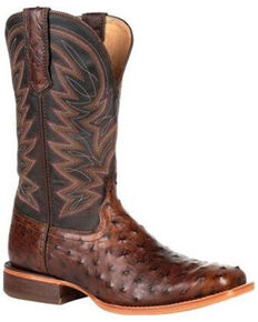 Durango Men's Brown Exotic Full-Quill Ostrich Western Boots - Square Toe, Dark Brown, hi-res