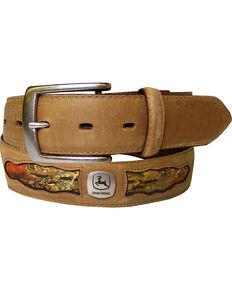 John Deere Men's Tan Horse Leather with Camo Cutouts Belt , Tan, hi-res
