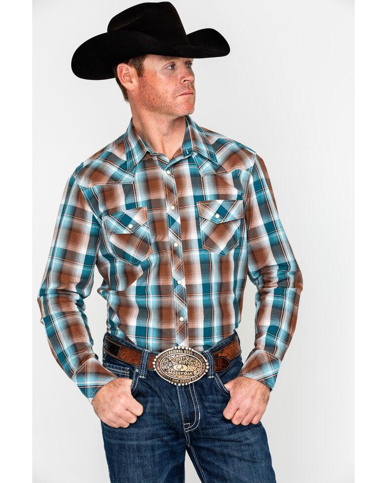 Rock & Roll Denim Men's Chili Crinkle Washed Plaid Long Sleeve Western Shirt , Chilli, hi-res