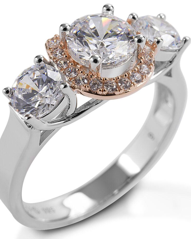 Kelly Herd Women's Large Three Stone Rose 14K Gold Horseshoe Ring, Silver, hi-res