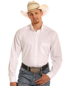 Tuf Cooper Men's Stretch Poplin Birdseye Long Sleeve Shirt, White, hi-res