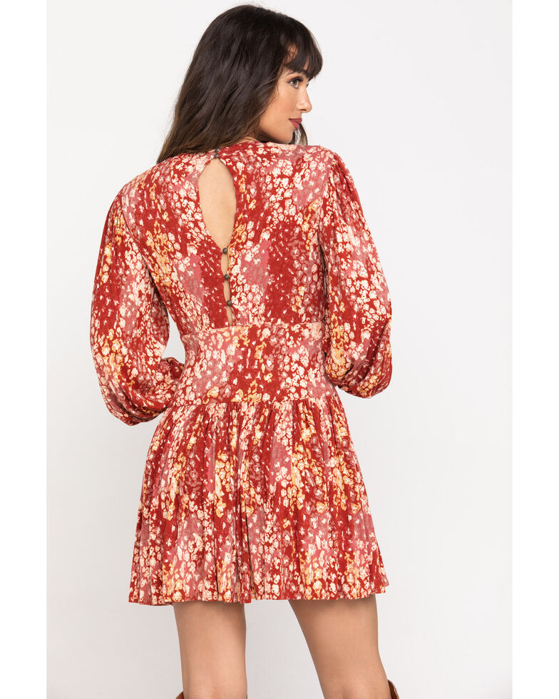 Free People Women's Abstract Print Heartbeats Mini Dress, Red, hi-res