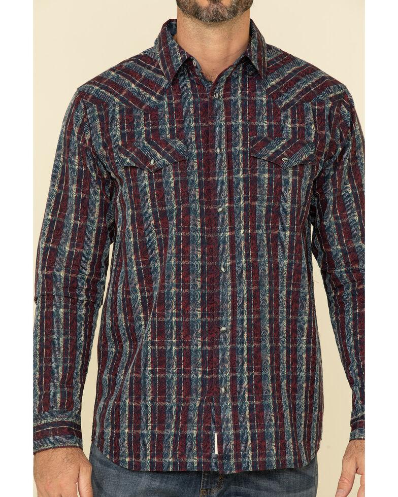 Moonshine Spirit Men's Red Flare Large Plaid Long Sleeve Western Shirt , Maroon, hi-res
