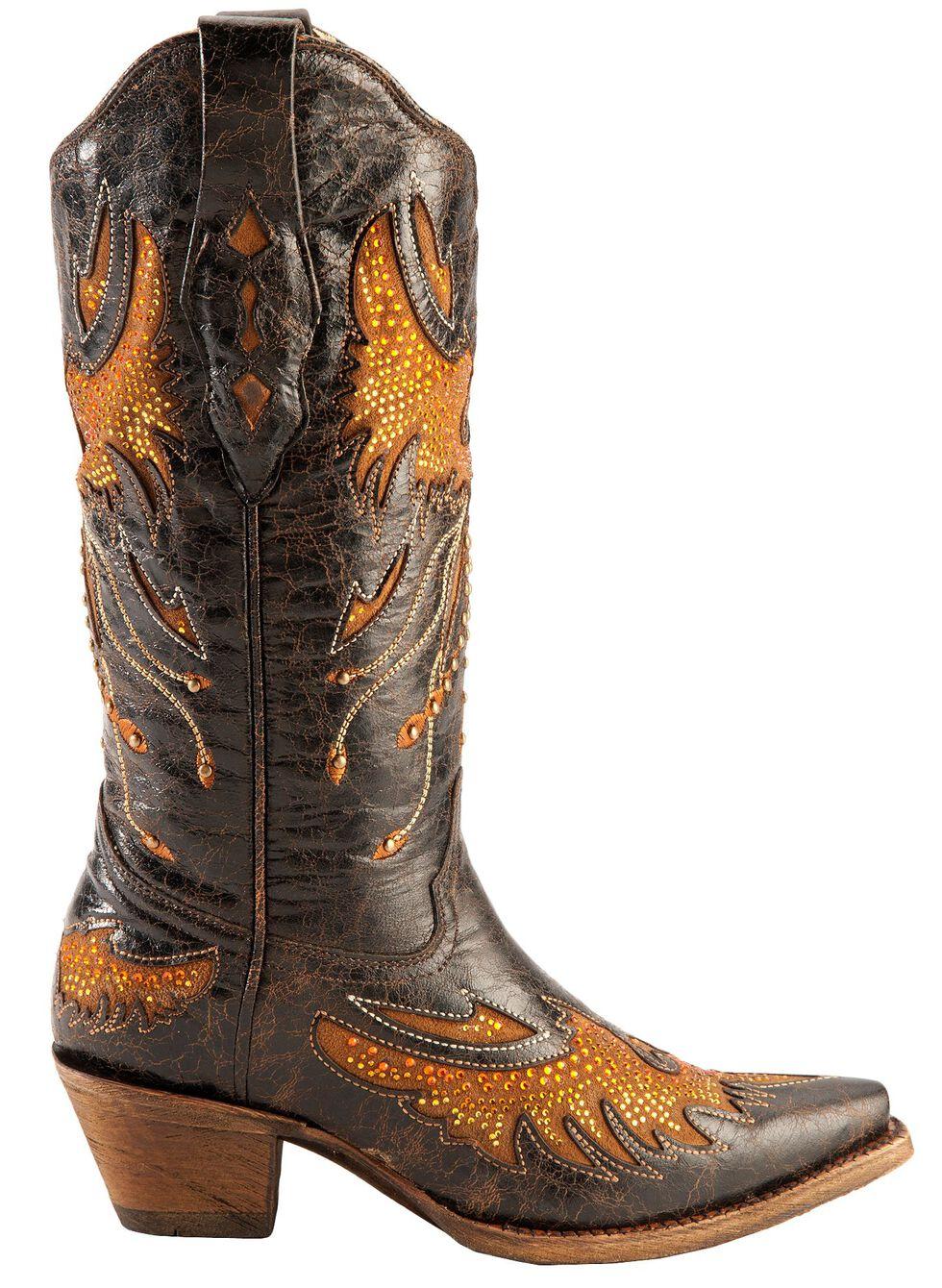 Corral Distressed Eagle Inlay Orange Rhinestone Cowgirl Boots - Snip Toe, Black, hi-res