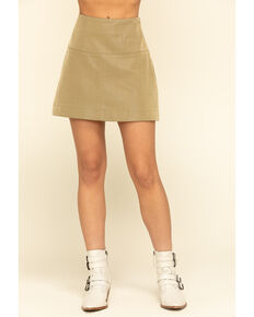 Free People Women's Days in The Sun Suede Skirt, Olive, hi-res