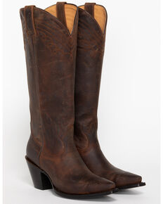 Shyanne Women's Brown Tall Western Boots - Snip Toe, Brown, hi-res
