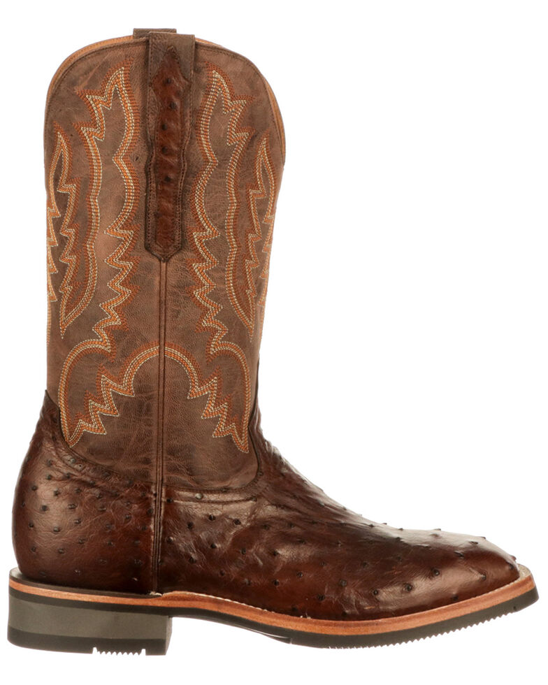 Lucchese Men's Rowdy Exotic Full-Quill Ostrich Western Boots - Square Toe, Chocolate, hi-res