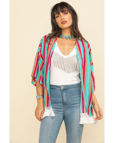 Rock & Roll Denim Women's Multi-Color Stripe Kimono, Multi, hi-res