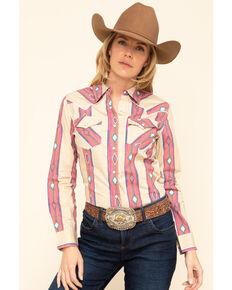 Wrangler Retro Women's Tan Aztec Long Sleeve Western Shirt, Tan, hi-res