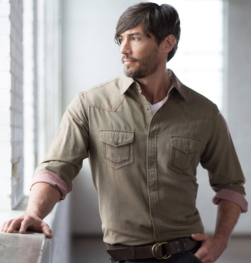 Ryan Michael Men's Olive Yarn Dye Patina Canvas Shirt, Olive, hi-res
