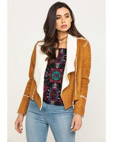 Shyanne Women's Pecan Faux Suede Fur Short Jacket , Pecan, hi-res