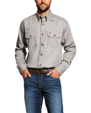 Ariat Men's Flame Resistant Solid Long Sleeve Work Shirt - Tall , Grey, hi-res