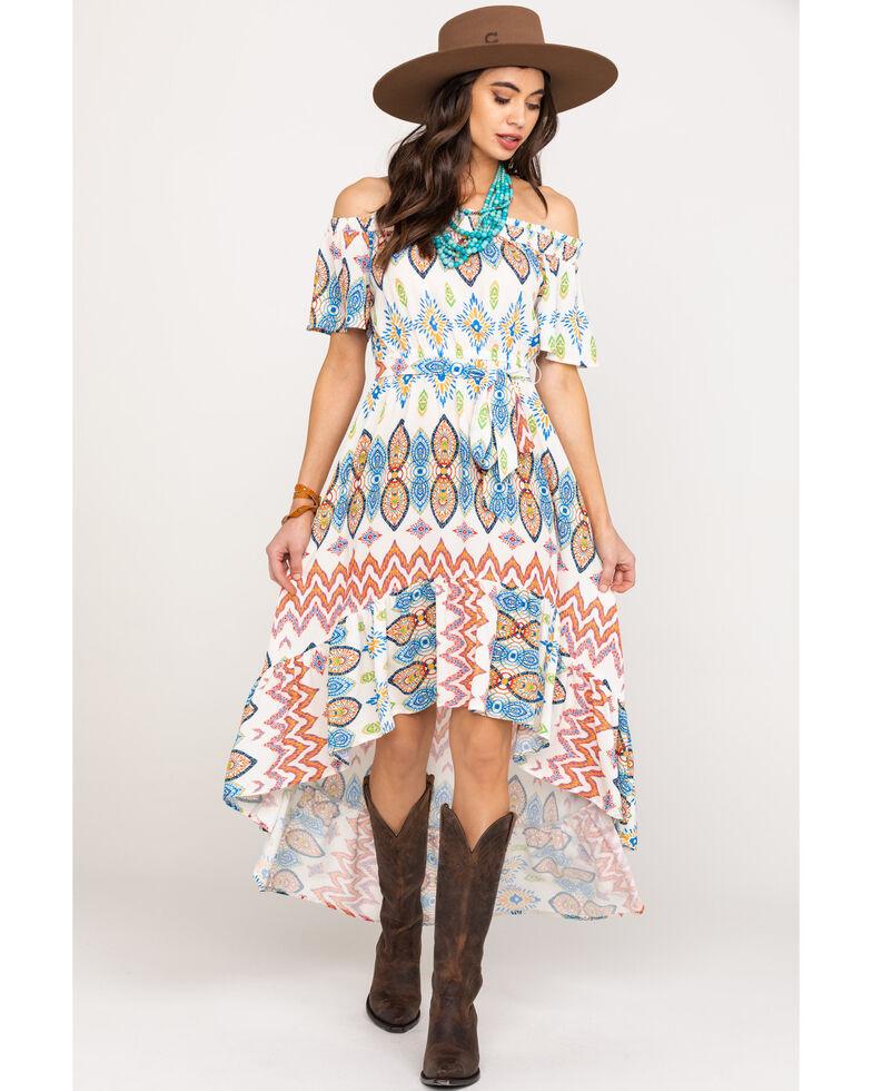 Flying Tomato Women's Off The Shoulder Aztec Print Dress, Ivory, hi-res