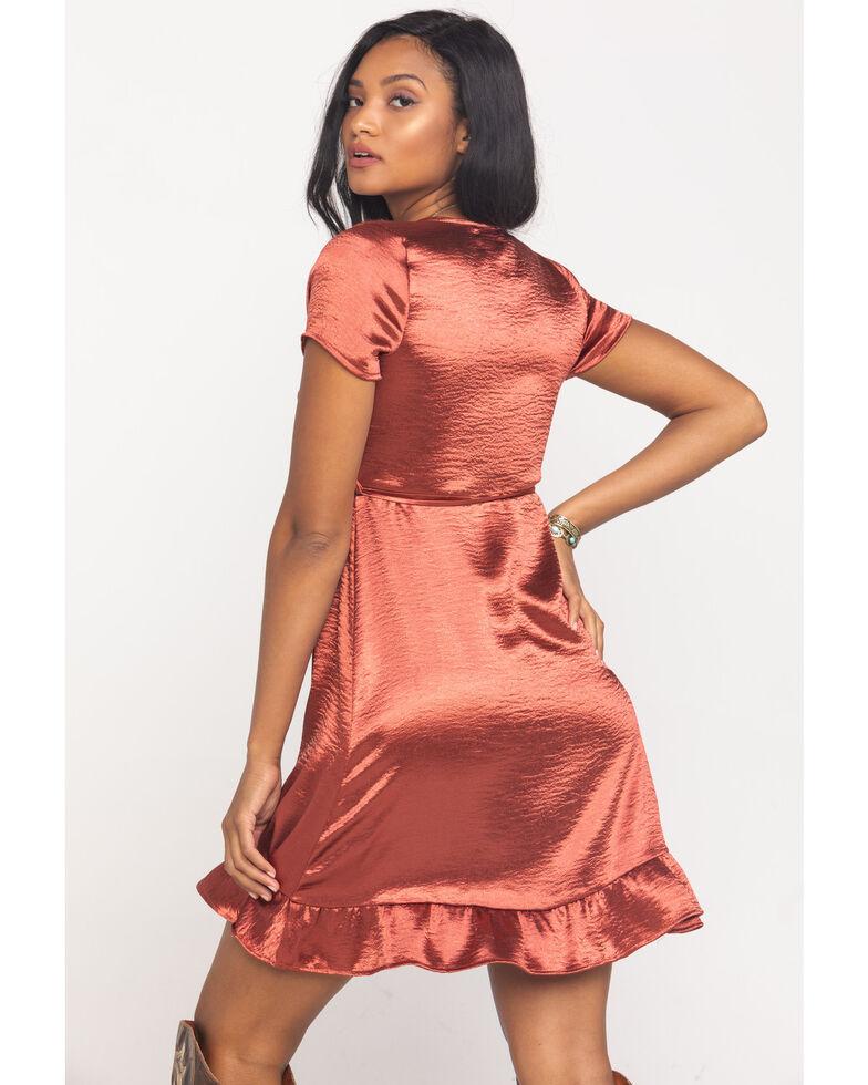 Luna Chix Women's Satin Surplice Wrap Dress, Mauve, hi-res