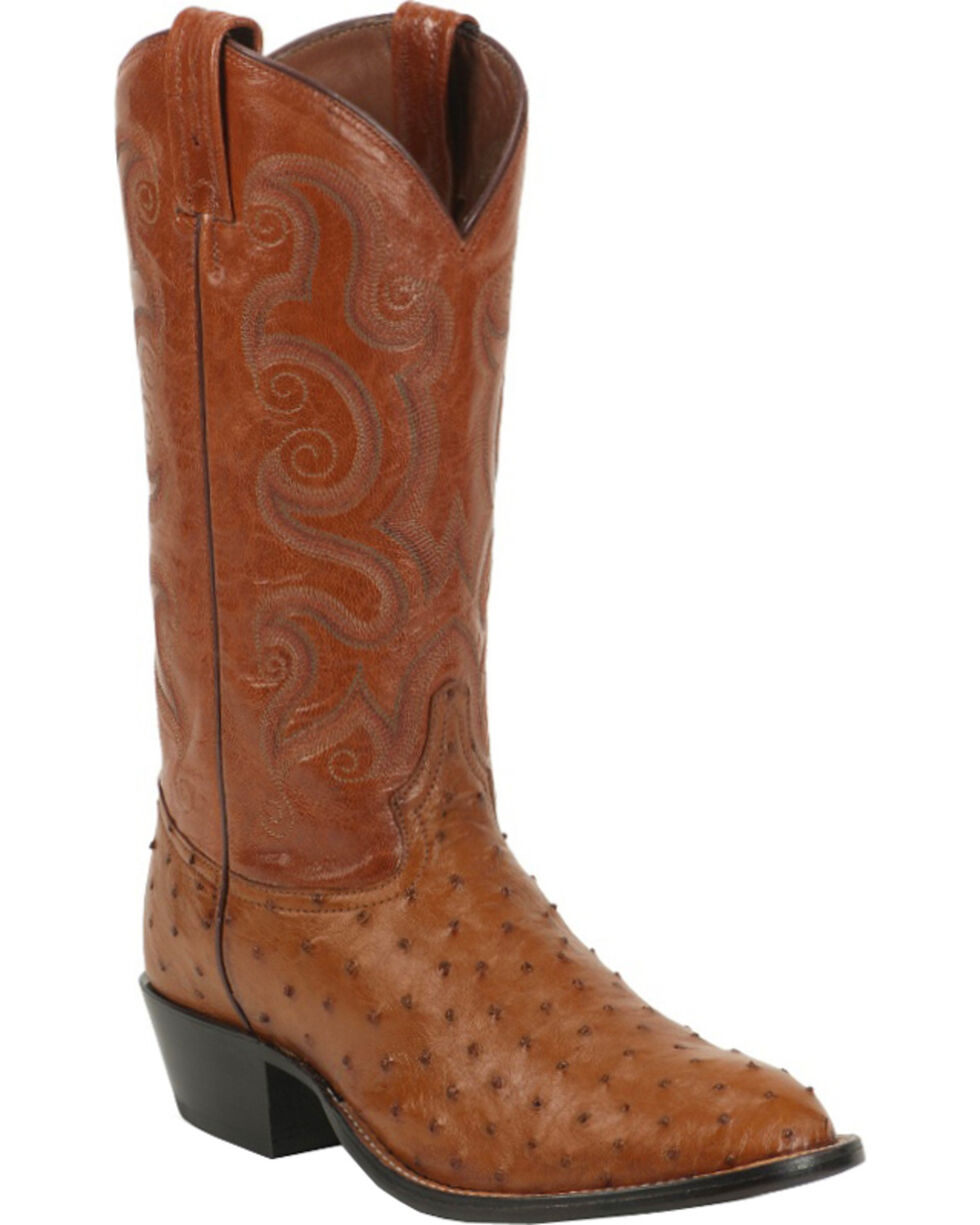 Tony Lama Full Quill Ostrich Cowboy Boots - Round Toe, Peanut Brittle, hi-res