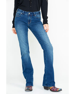Rock & Roll Cowgirl Women's Criss Cross Bootcut Jeans , Medium Blue, hi-res