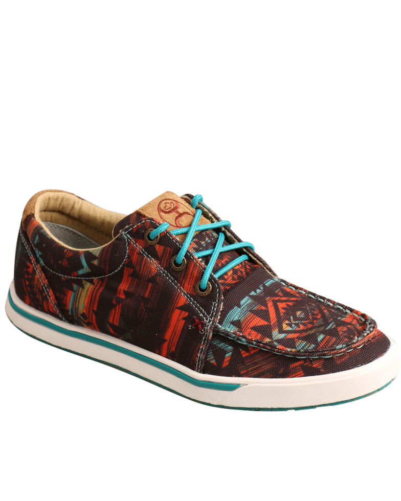 Twisted X Women's Midnight Aztec Loper Shoes - Moc Toe, Dark Blue, hi-res