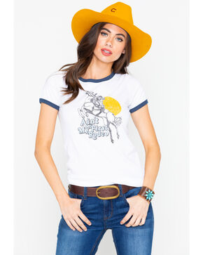 Ariat Women's First Rodeo Graphic Ringer Short Sleeve Tee , Ivory, hi-res