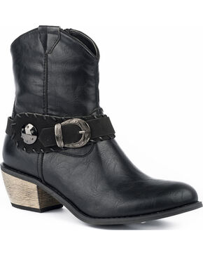 Roper Women's Mae Buckle Strap Booties - Round Toe, Black, hi-res