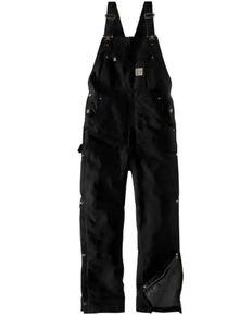 Carhartt Men's Black Firm Duck Insulated Bib Work Overalls - Tall, Black, hi-res