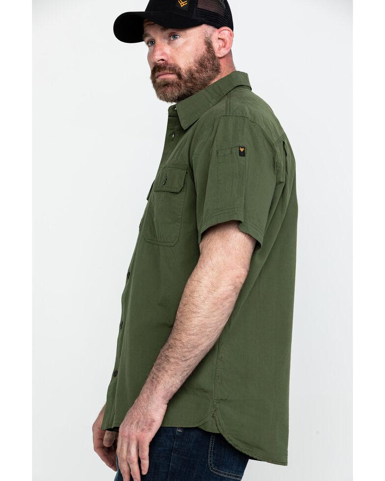 Hawx Men's Solid Yarn Dye Two Pocket Short Sleeve Work Shirt , Moss Green, hi-res