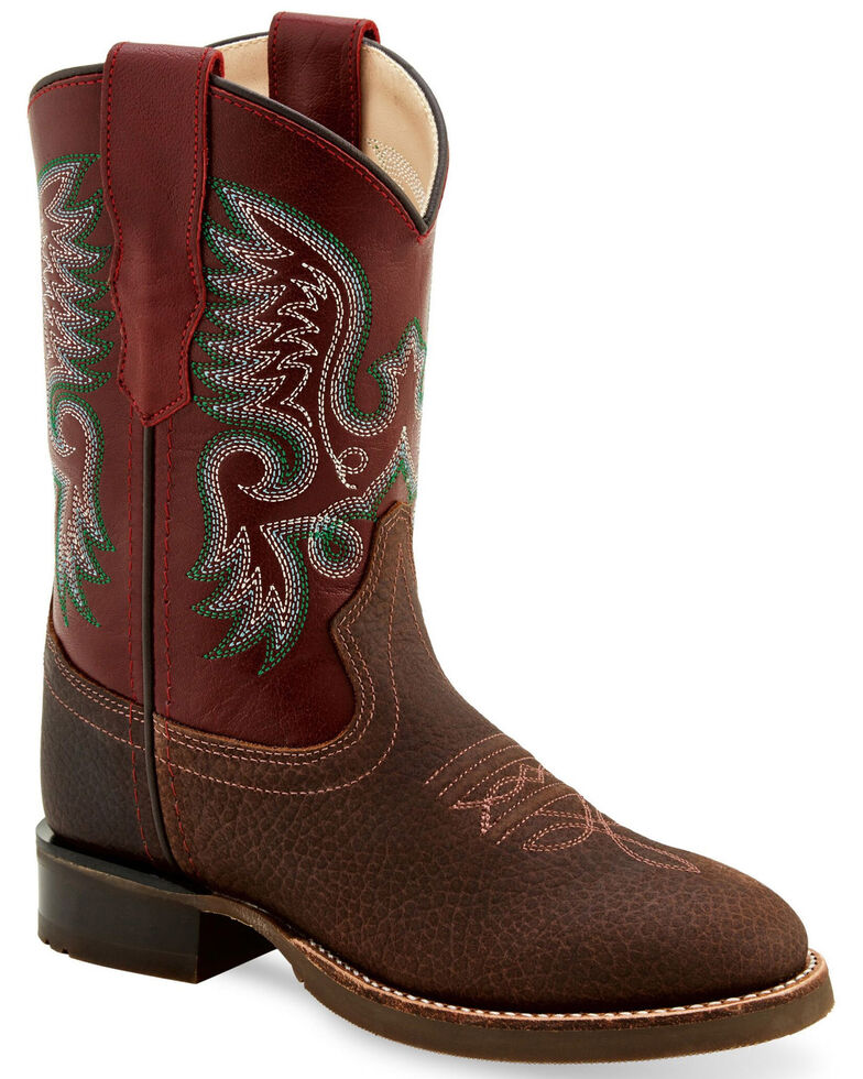 Old West Boys' Maroon Western Boots - Round Toe, Maroon, hi-res