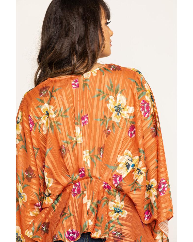 Flying Tomato Women's Floral Lurex Stripe Flutter Top, Peach, hi-res