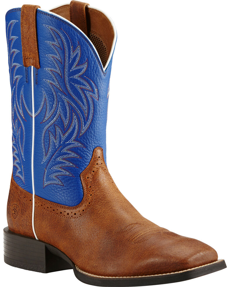Ariat Sport Western Blue and Brown Cowboy Boots - Square Toe, Brown, hi-res