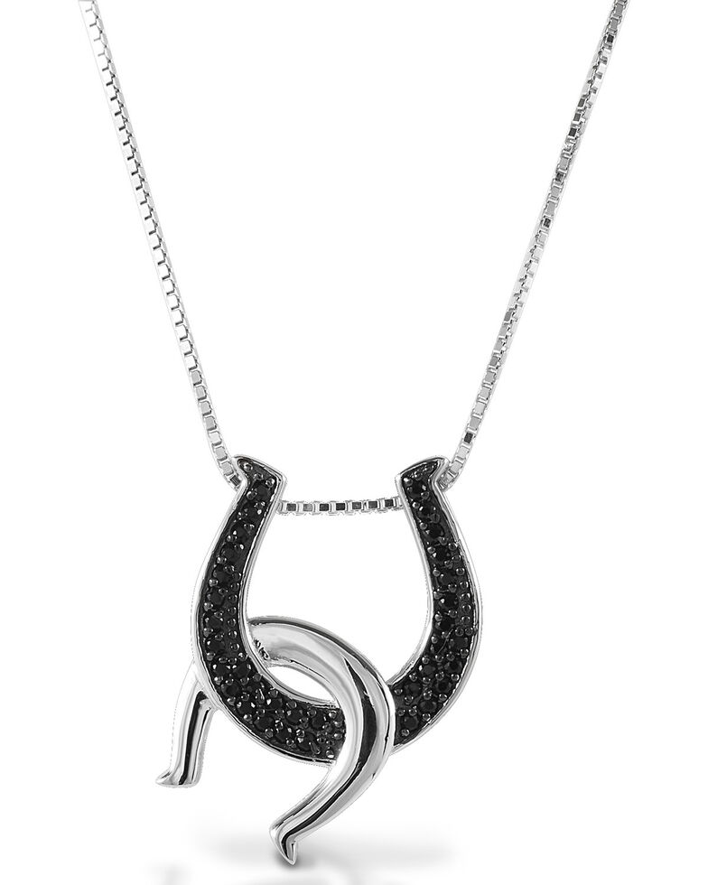 Kelly Herd Women's Black Double Horseshoe Necklace , Silver, hi-res