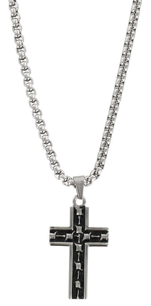 Moonshine Spirit Men's Barbwire Cross Necklace, Silver, hi-res