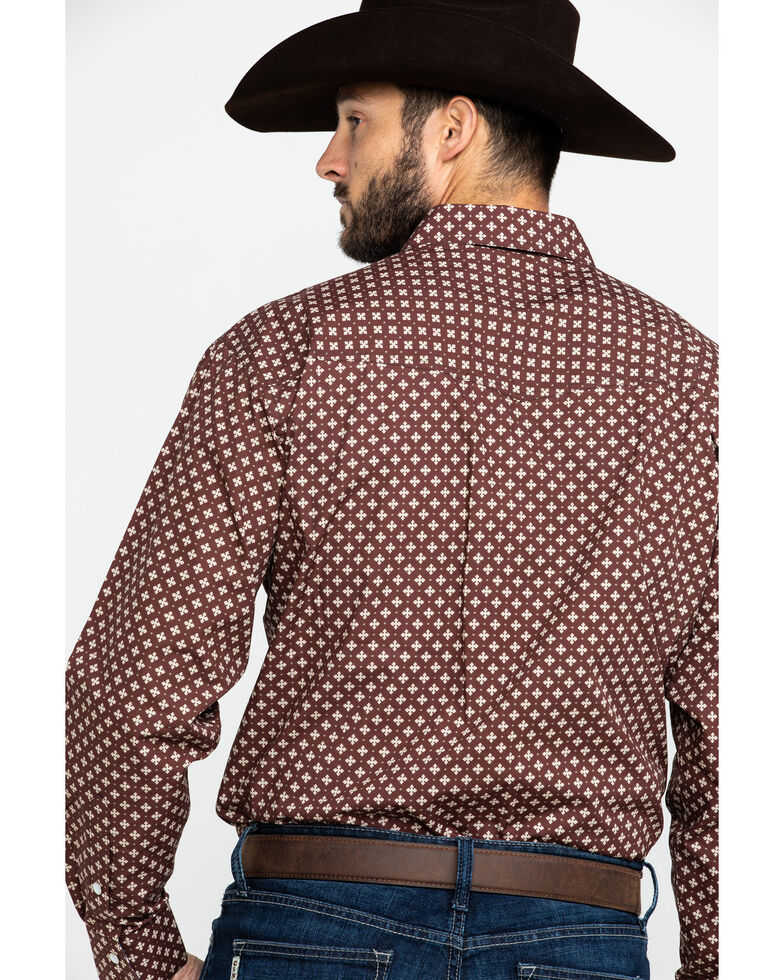 Resistol Men's Lackey Geo Print Long Sleeve Western Shirt , Red, hi-res