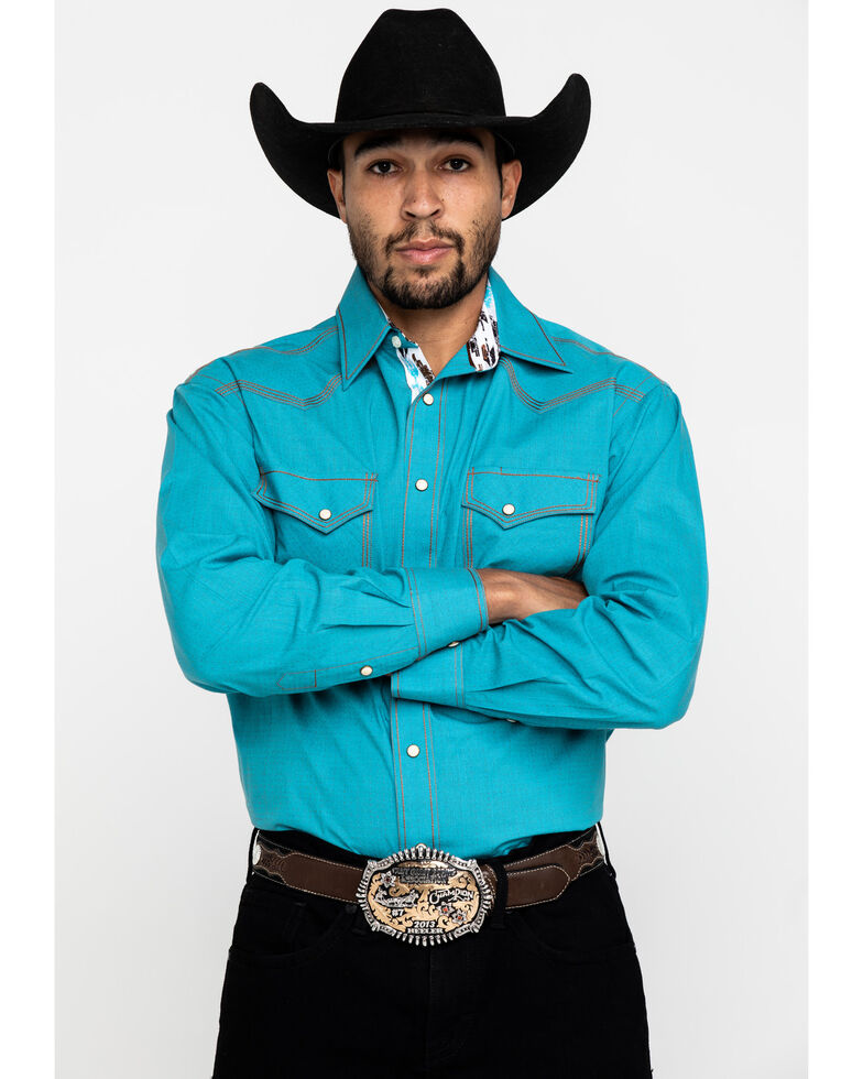 Rough Stock By Panhandle Solitude Vintage Solid Long Sleeve Western Shirt , Turquoise, hi-res
