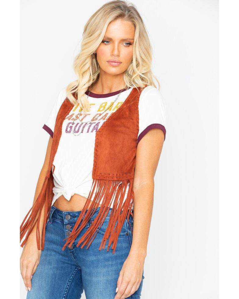 Idyllwind Women's New Strings Fringe Vest, Tan, hi-res