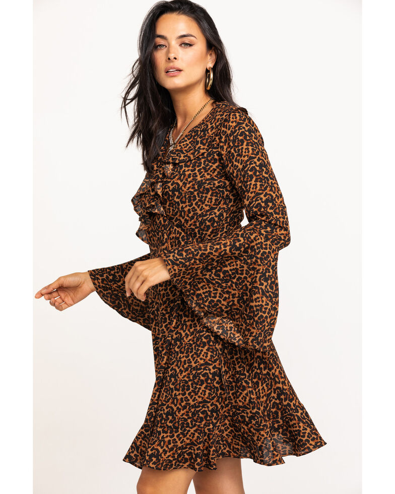 En Creme Women's Leopard Ruffle Wrap Dress , Leopard, hi-res