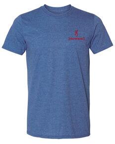 Browning Men's Heather Blue USA Back Graphic Short Sleeve T-Shirt , Blue, hi-res