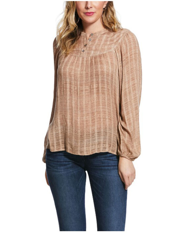 Ariat Women's Natural Creekside Long Sleeve Top , Natural, hi-res
