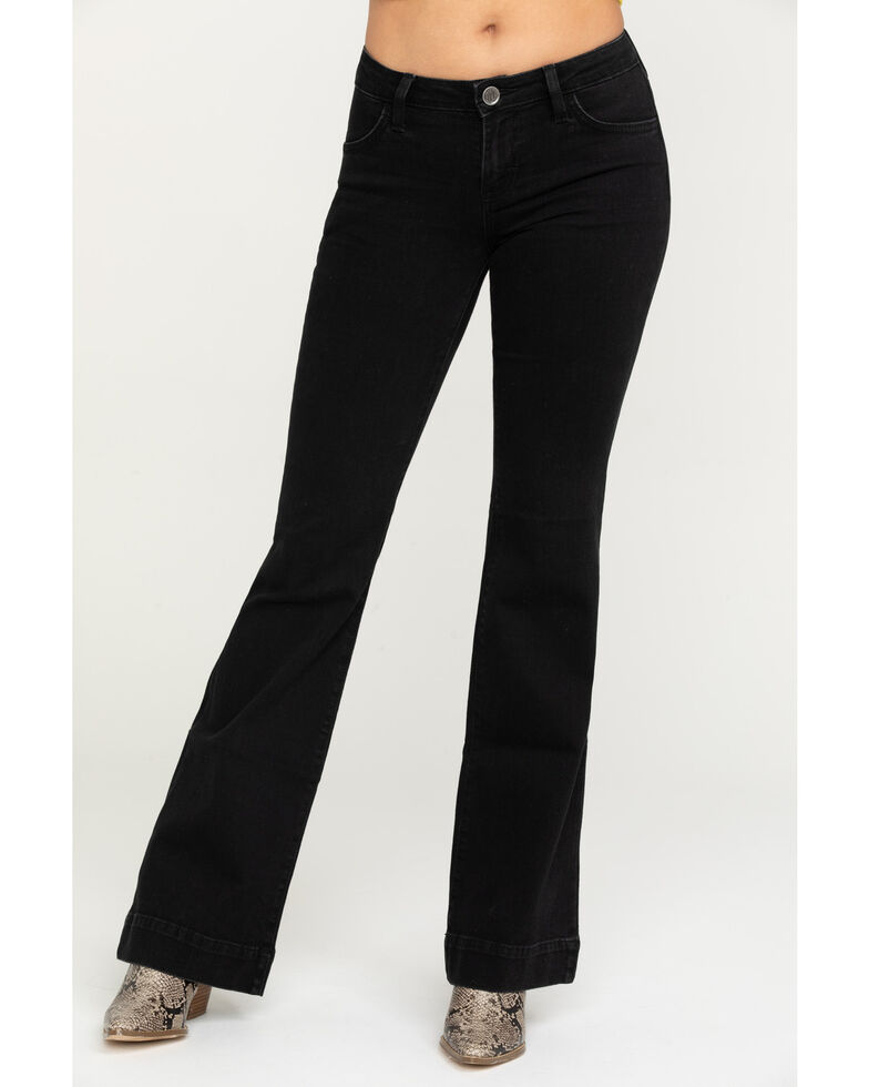Wrangler Retro Women's Quentin Mid-Rise Trouser, Black, hi-res